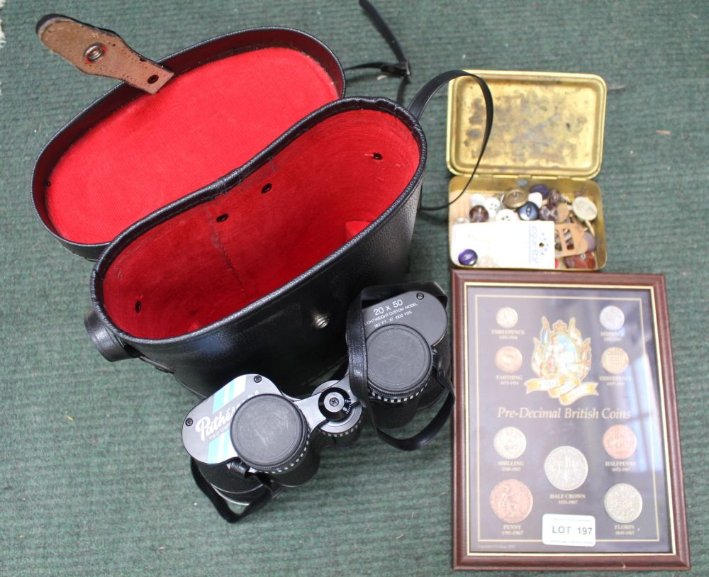 A CASED SET OF BINOCULARS together with; a Princess Alexandra Christmas tin, and a framed