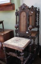 TWO CROMWELLIAN DESIGN CHAIRS having fancy carved & bergere insert backs, supported on fancy