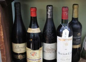 FIVE BOTTLES OF RED WINE from France, Italy & Spain, one being 1959 Cote du Beaune-Villages