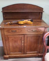 A 19TH CENTURY OAK FINISHED SIDE CUPBOARD with single shelved upstand back, plain rectangular top