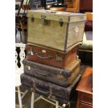 FOUR VARIOUS SUITCASES & TRAVELLING TRUNKS