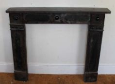 A 19TH CENTURY PAINTED SLATE FIRE SURROUND in imitation rouge marble, 115cm x 130cm