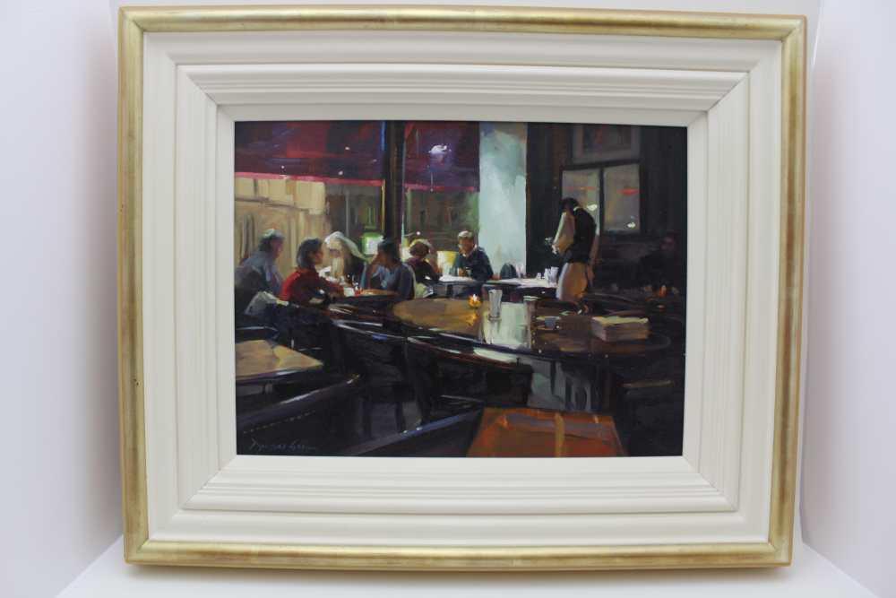 DOUGLAS GRAY 'Overlooking the Opera, Paris', a restaurant interior at night, oil painting on
