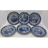 A COLLECTION OF SIX 18TH CENTURY CHINESE PORCELAIN PLATES, each painted in cobalt blue with
