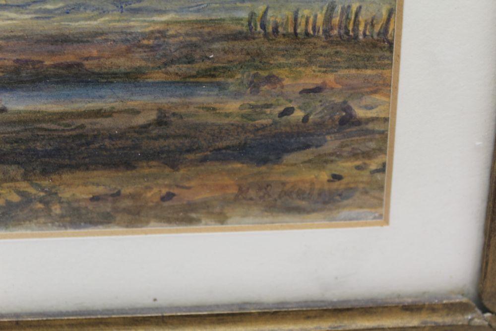 19TH CENTURY EUROPEAN SCHOOL 'Coastal Scene' watercolour, indistinctly signed, 24cm x 35cm, gilt - Image 3 of 4