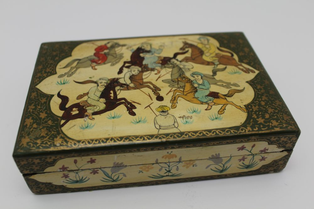 AN INDIAN KASHMIR BOX & COVER, the lid decorated with a polo match, 15cm x 10cm, together with two - Image 4 of 7