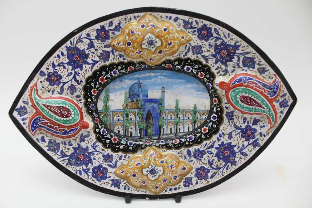 AN ISLAMIC PERSIAN ENAMEL COPPER DISH, together with a tray 23cm wide and three stemmed drinking - Image 3 of 5