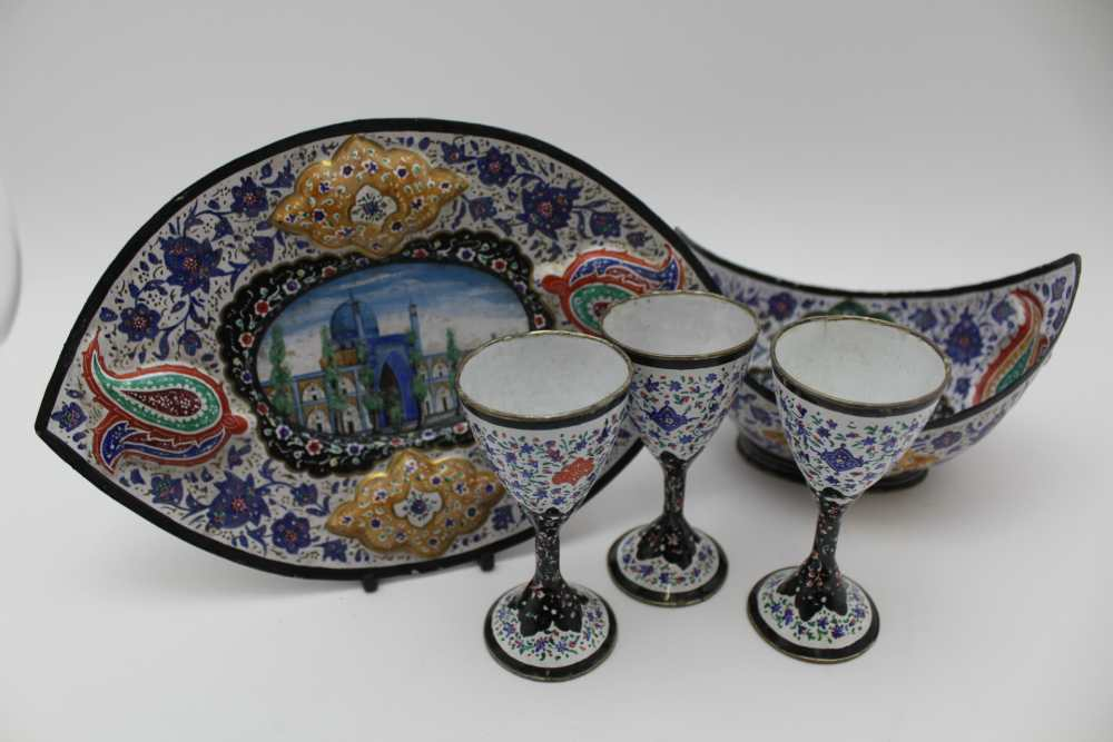 AN ISLAMIC PERSIAN ENAMEL COPPER DISH, together with a tray 23cm wide and three stemmed drinking - Image 2 of 5