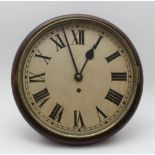 A WALL OR POST TIMEPIECE, stained wood case, 8-day with circular dial and Roman numerals, c.1900,