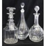 A GEORGIAN TRIPLE RING NECK DECANTER, with mushroom stopper, together with a plain teardrop decanter
