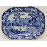 A 19TH CENTURY BLUE & WHITE TRANSFER PRINTED 'NUNEHAM COURTENAY' PATTERN POTTERY MEAT DISH with wild
