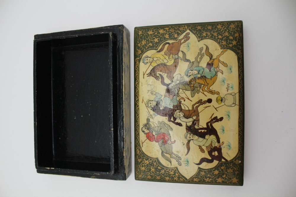 AN INDIAN KASHMIR BOX & COVER, the lid decorated with a polo match, 15cm x 10cm, together with two - Image 5 of 7