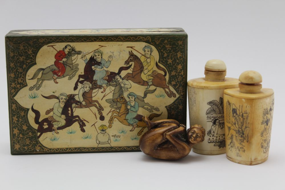 AN INDIAN KASHMIR BOX & COVER, the lid decorated with a polo match, 15cm x 10cm, together with two