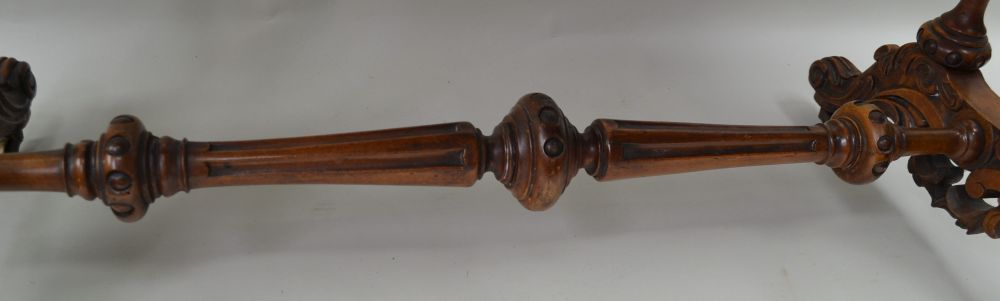 A 19TH CENTURY WALNUT FANCY SHAPED CENTRE TABLE having quarter veneered top, supported on four - Image 3 of 5