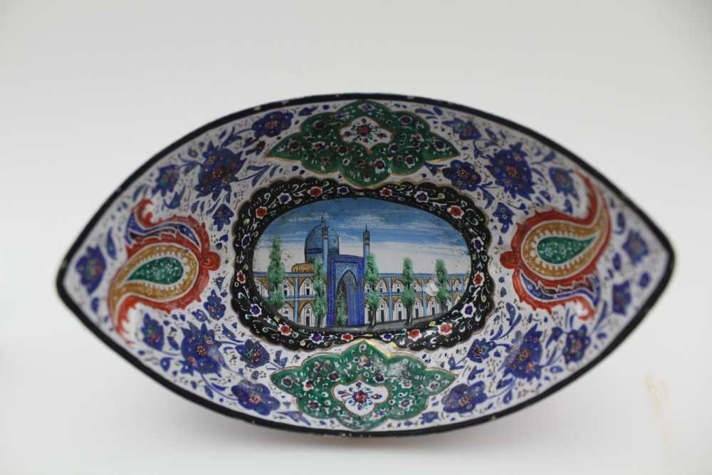 AN ISLAMIC PERSIAN ENAMEL COPPER DISH, together with a tray 23cm wide and three stemmed drinking - Image 4 of 5