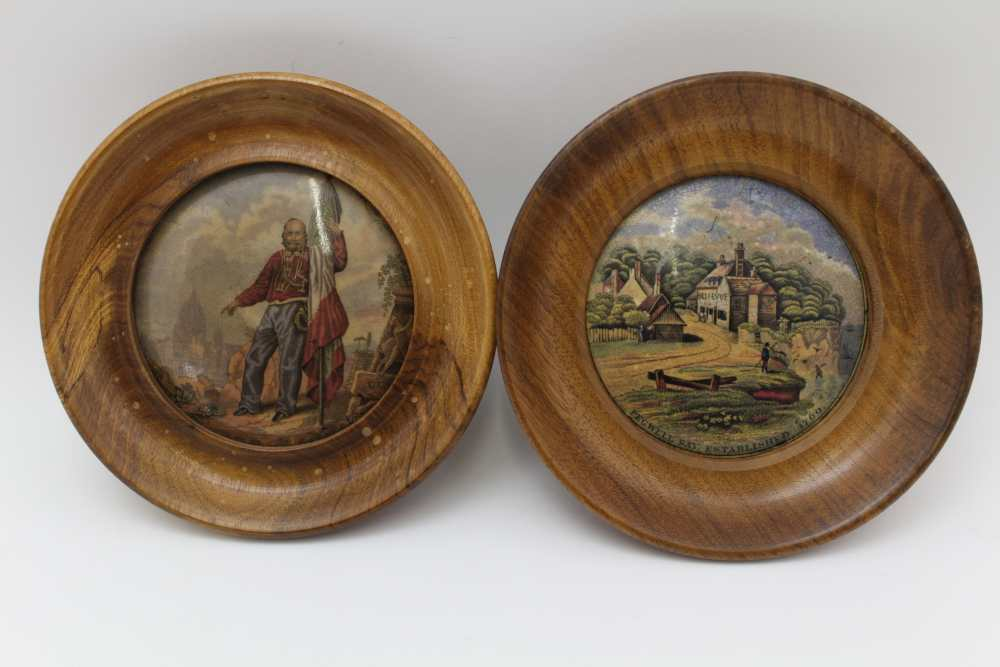 A COLLECTION OF FIVE VICTORIAN PRATT POT LIDS, to include 'Pegwell Bay' and 'Garabaldi', each in - Image 2 of 4