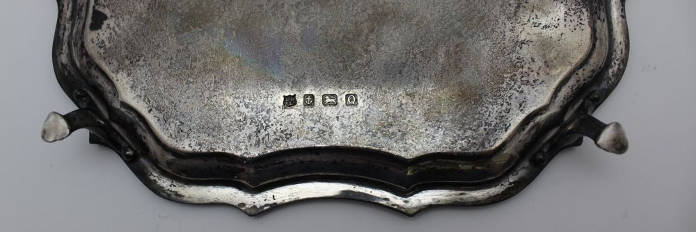 BARKER BROTHERS SILVER LTD, A SILVER PIECRUST SALVER, of square form, raised on four supports, - Image 3 of 3