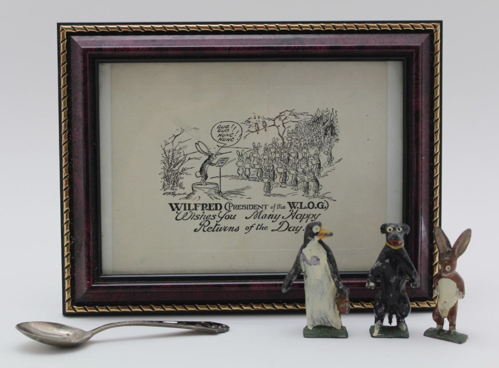 A TRIO OF PAINTED CAST METAL FIGURES 'PIP, SQUEAK & WILFRED', after the 'Daily Mirror' cartoon