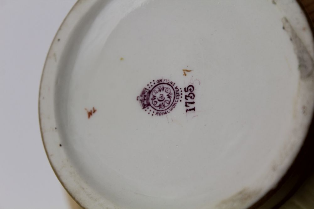 A ROYAL WORCESTER PORCELAIN BOWL. Blush ivory ground, moulded, floral painted and gilded - Image 4 of 8