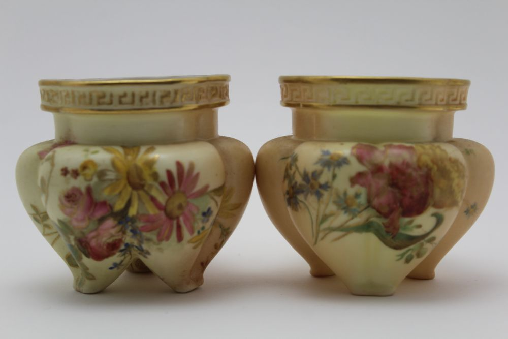 A ROYAL WORCESTER PORCELAIN BOWL. Blush ivory ground, moulded, floral painted and gilded - Image 5 of 8