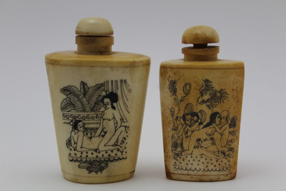 AN INDIAN KASHMIR BOX & COVER, the lid decorated with a polo match, 15cm x 10cm, together with two - Image 2 of 7
