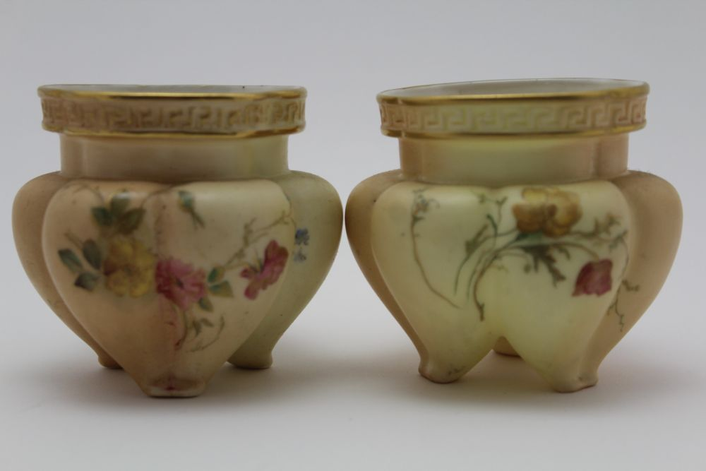 A ROYAL WORCESTER PORCELAIN BOWL. Blush ivory ground, moulded, floral painted and gilded - Image 6 of 8