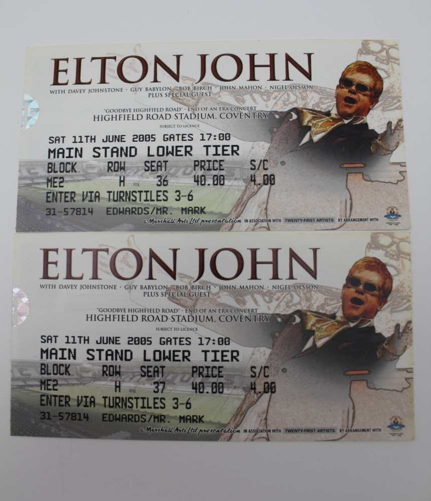 TWO ELTON JOHN CONCERT TICKETS, Highfield Round Stadium, Coventry, 2005, together with a signed - Image 3 of 5
