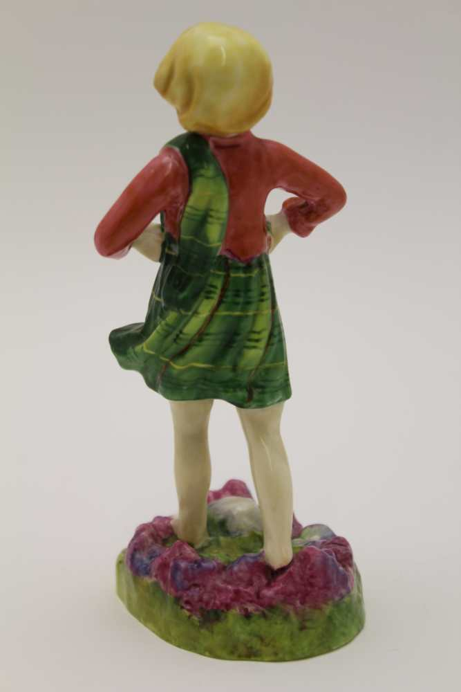 A ROYAL WORCESTER BONE CHINA FIGURE, 'Scotland', modelled by Freda Doughty, No.3104, 14cm high - Image 2 of 3