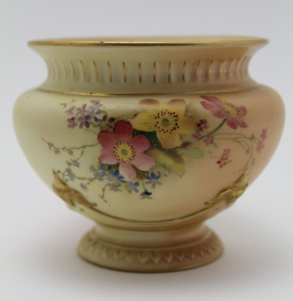A ROYAL WORCESTER PORCELAIN BOWL. Blush ivory ground, moulded, floral painted and gilded - Image 2 of 8