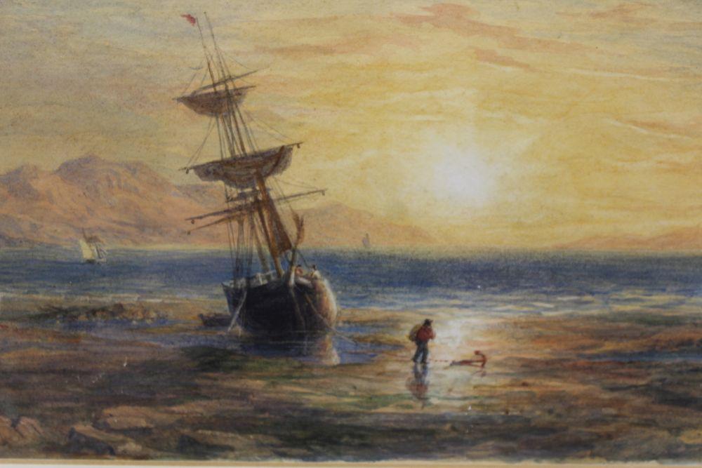 19TH CENTURY EUROPEAN SCHOOL 'Coastal Scene' watercolour, indistinctly signed, 24cm x 35cm, gilt - Image 2 of 4
