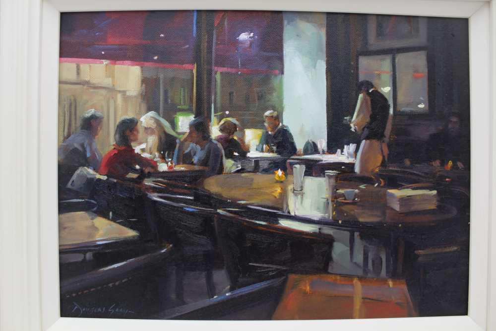 DOUGLAS GRAY 'Overlooking the Opera, Paris', a restaurant interior at night, oil painting on - Image 2 of 6