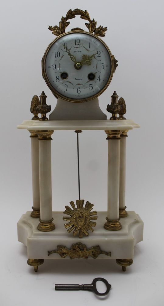 A LATE 19TH CENTURY FRENCH WHITE MARBLE & GILT BRASS CLOCK GARNITURE, the clock of Portico type, the - Image 2 of 9