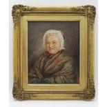 19TH CENTURY BRITISH SCHOOL 'Lady wearing a shawl', watercolour painting, monogrammed, 30cm x