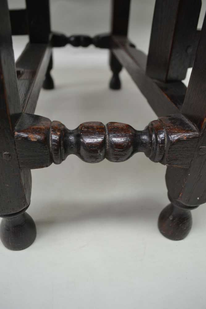 A PART 18TH CENTURY OAK SMALL DROPLEAF, the frame with ring turnings, later drop leaf top, 73cm x - Image 3 of 3