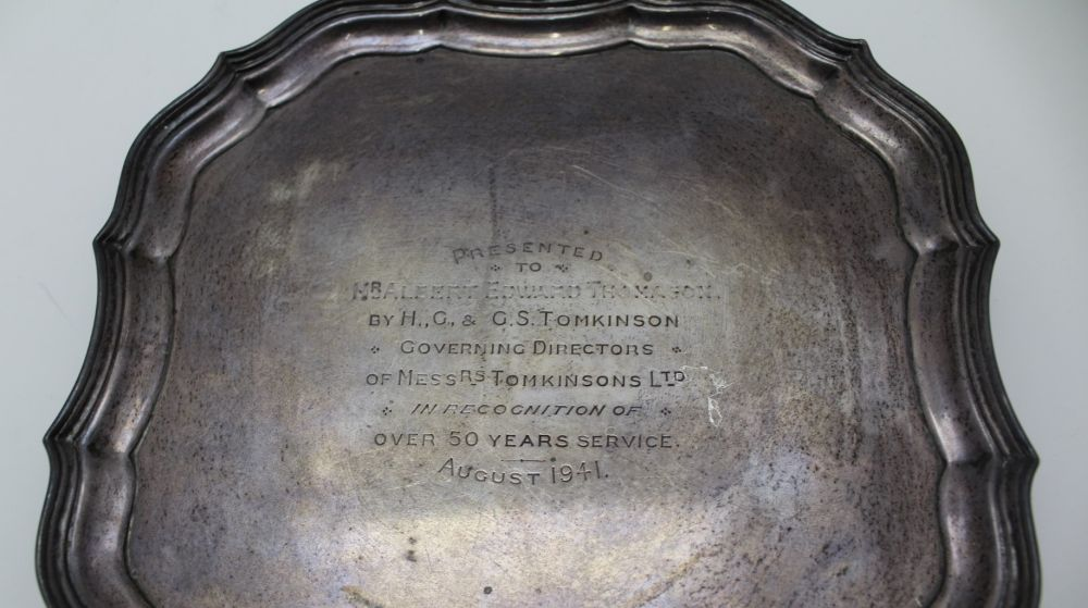 BARKER BROTHERS SILVER LTD, A SILVER PIECRUST SALVER, of square form, raised on four supports, - Image 2 of 3
