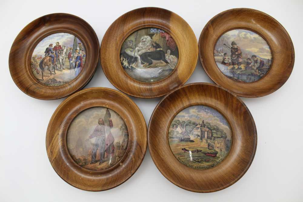 A COLLECTION OF FIVE VICTORIAN PRATT POT LIDS, to include 'Pegwell Bay' and 'Garabaldi', each in