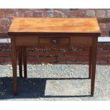 AN EARLY 19TH CENTURY PLAIN FORM FOLD-OVER TEA TABLE having reeded edge over single central