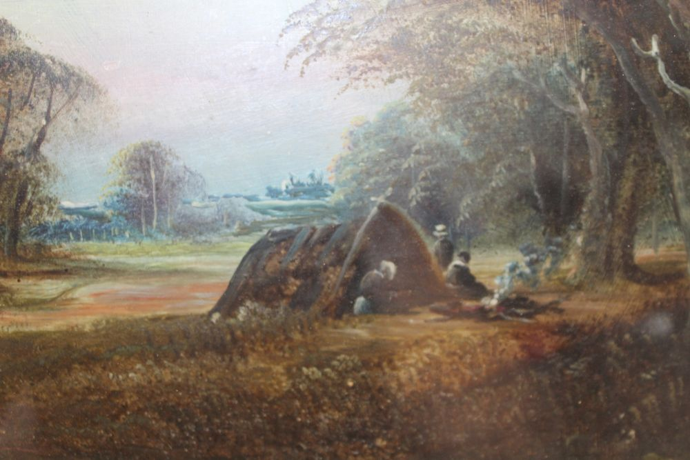 19TH CENTURY BRITISH SCHOOL 'Travellers at rest in a Woodland', Oil painting on panel, - Image 2 of 5