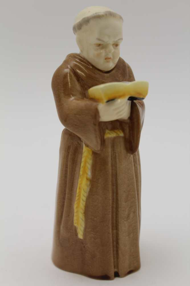 A ROYAL WORCESTER BONE CHINA MONK CANDLE SNUFFER, 12cm high, together with 'October' modelled by F. - Image 4 of 5