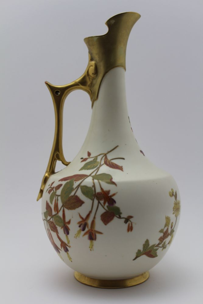 A ROYAL WORCESTER VICTORIAN PORCELAIN EWER JUG, ivory gilded with blossom, flower, and leaf