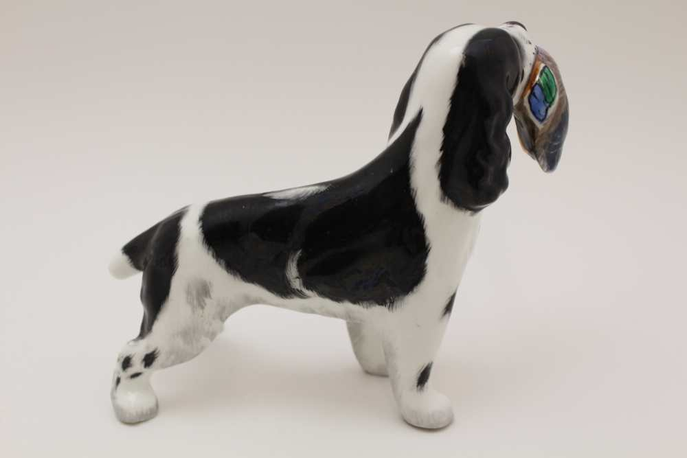 A GOEBEL POTTERY BROWN & WHITE IRISH SETTER DOG, factory marked, 16cm high, together with a bone - Image 6 of 8