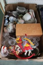 A BOX CONTAINING DOMESTIC MISCELANIA in a variety of medium
