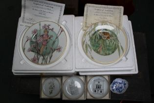 A BOX CONTAINING BOXED COLLECTORS PORCELAIN including meissen pin dish, 2 boxed plated, etc