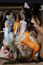 A BOX OF DOMESTIC COLLECTABLES the majority female figurines
