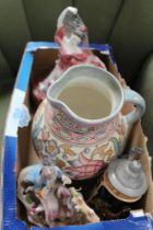 A SMALL BOX FULL OF COLLECTABLE POTTERY to include a Charlotte Rhead tube lined jug, limited edition