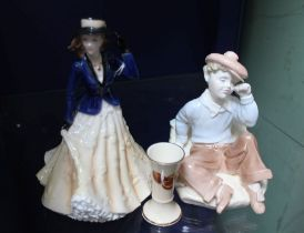 A ROYAL WORCESTER FIGURINE 'ANNABELL' together with a Coalport Wednesdays Child & a miniature vase