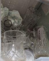 A PLASTIC CRATE OF DOMESTIC GLASSWARES