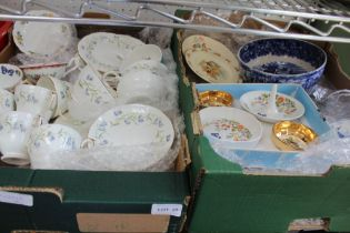 TWO BOXES HOUSING A SELECTION OF DOMESTIC POTTERY to include famous brand names