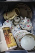 A PLASTIC CRATE CONTAINING DOMESTIC CROCKERY including part tea service, advertising jugs, etc