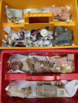 TWO PLASTIC HODS containing Lilliput Lane dwellings & Disney characters